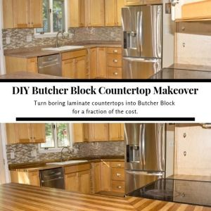 DIY Countertop Makeover from Laminate to Butcher Block for Less