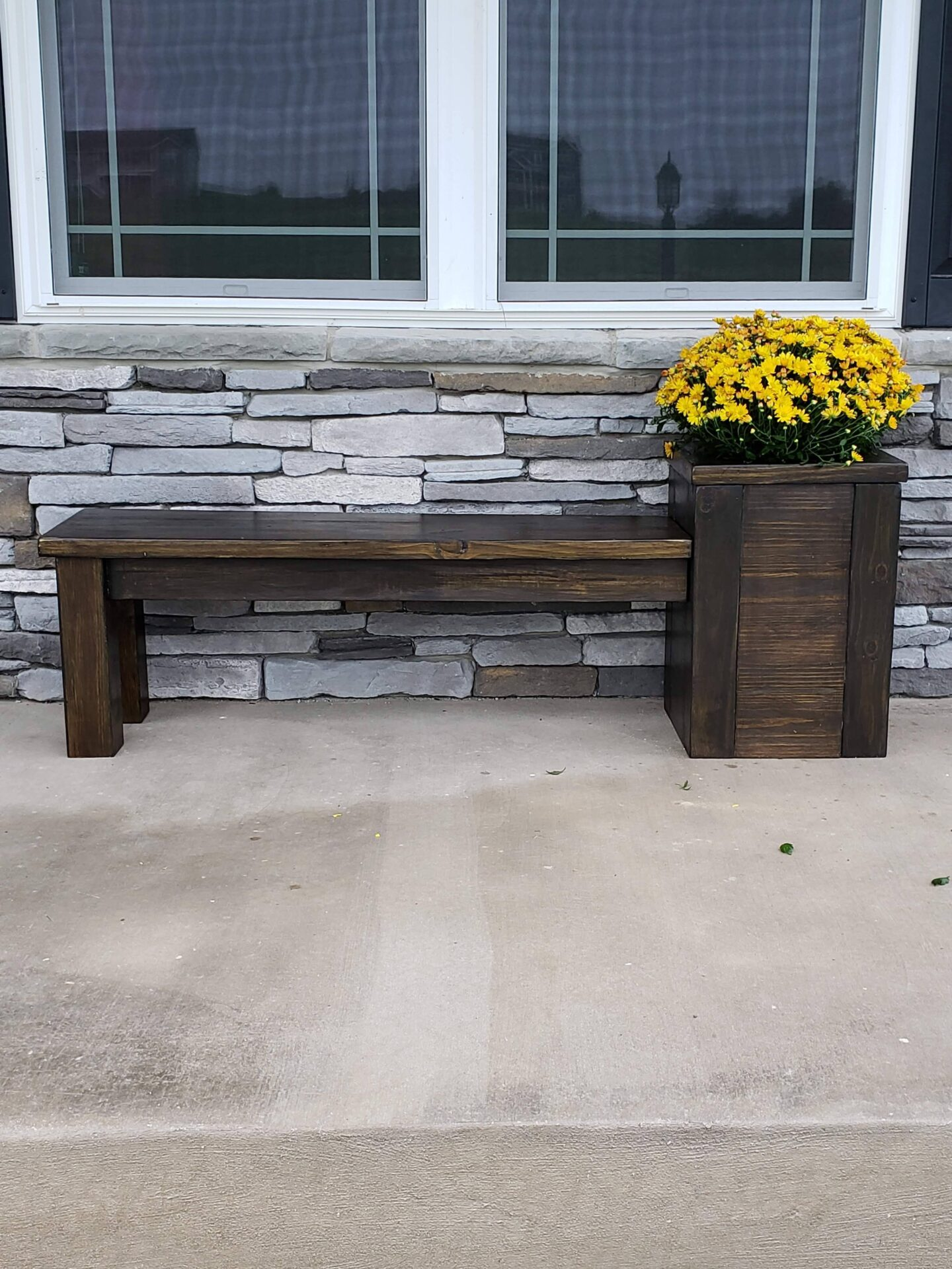 Front porch plant stand bench