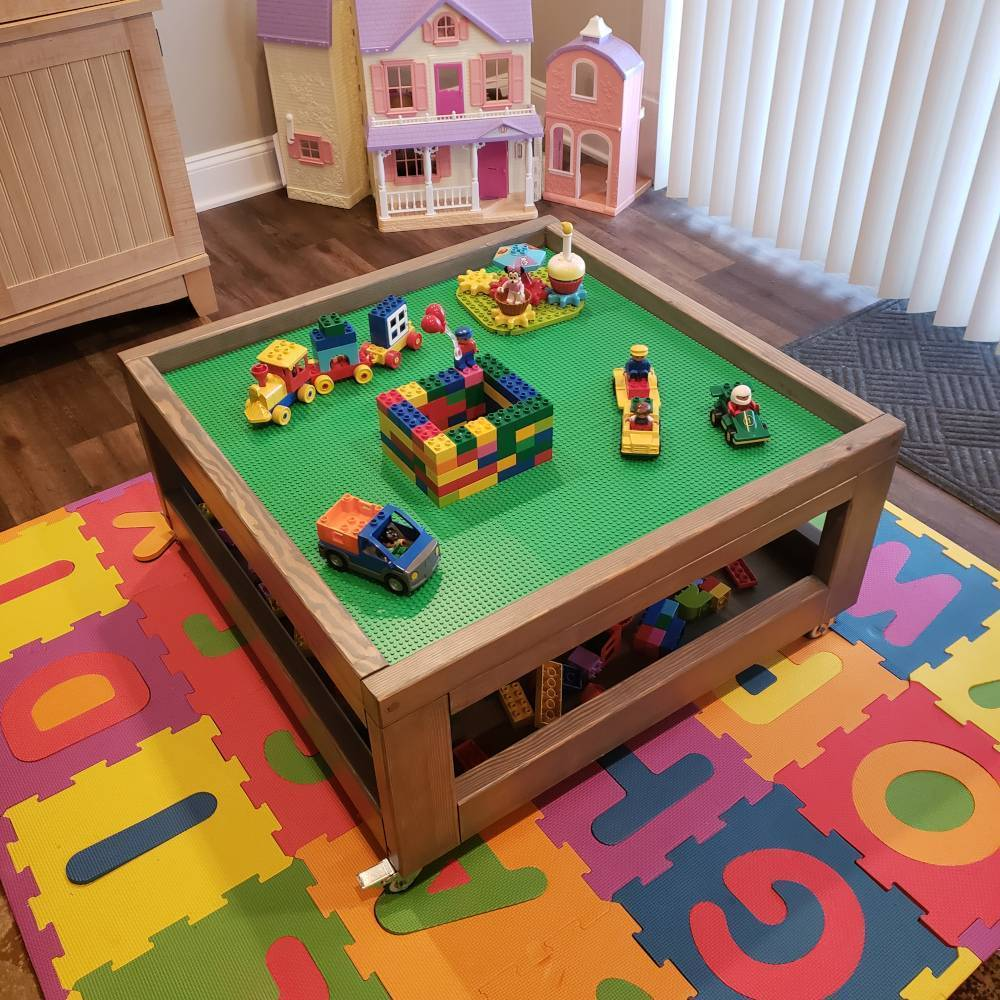 Square Rolling Lego Table