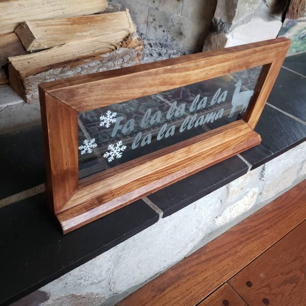 Etched Glass Christmas Llama Sign