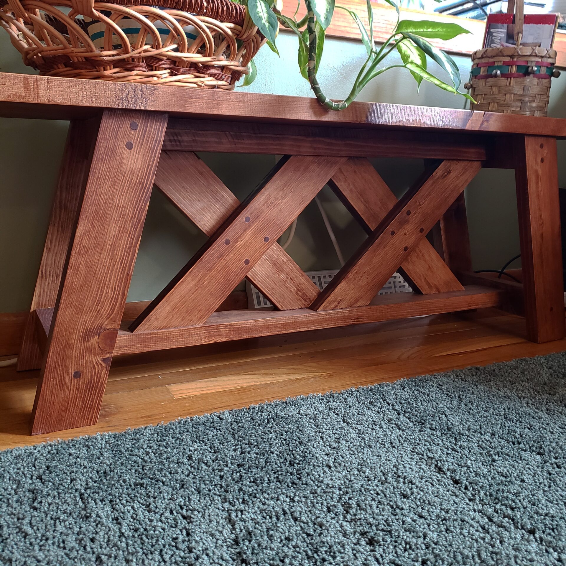 Double X Bench, English Chestnut Stain