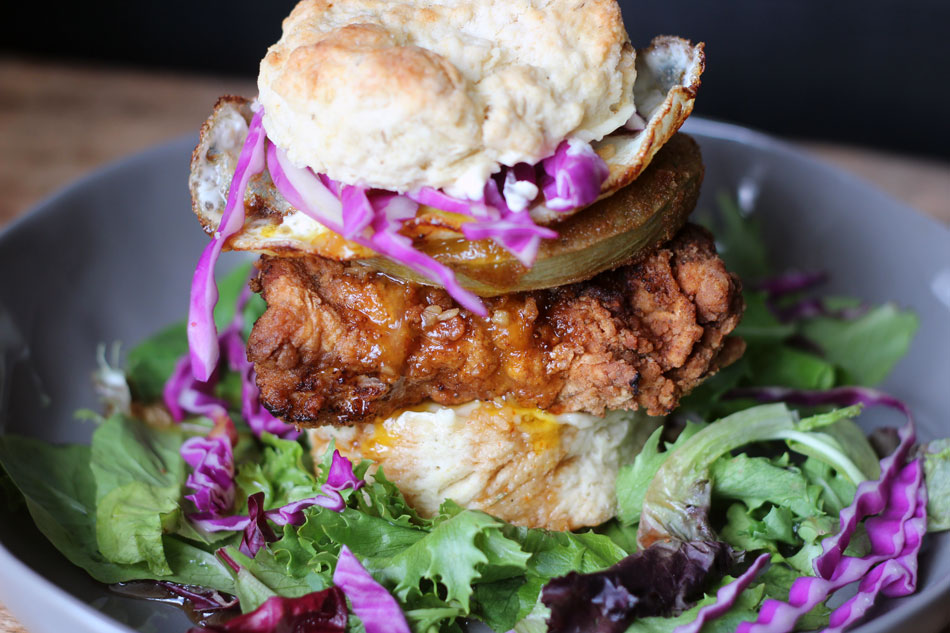 Honey Garlic Chicken and Biscuit Sandwich - Top of post