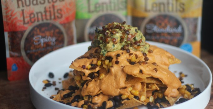 Stacked Vegan Nachos with Roasted Lentils