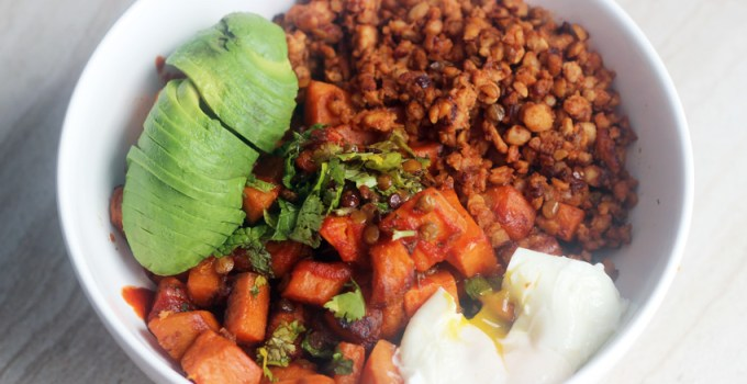 Caramelized Sweet Potato and Tempeh Hash