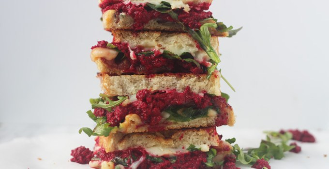 Triple cheese/grilled cheese with garlicky beet spread and turkey bacon