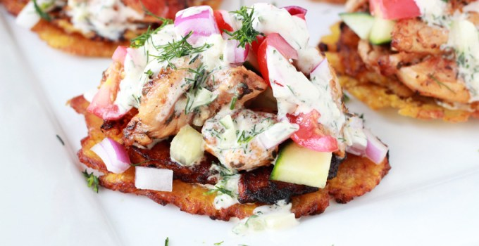 Whole 30 tostone chicken gyros, drizzled with coconut cream tzatziki sauce