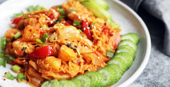 Grilled pineapple and shrimp thai red curry spaghetti squash noodles whole30/paleo