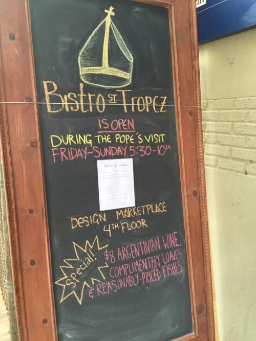 Philly bistro pope menu