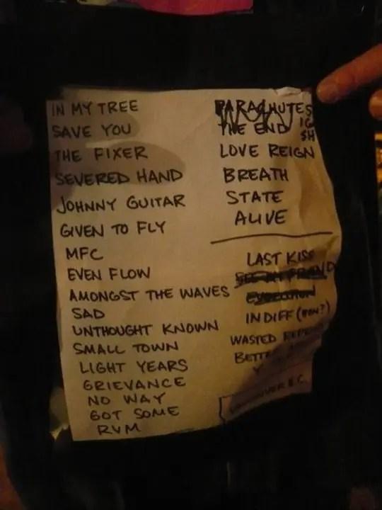 Pearl Jam Vancouver setlist