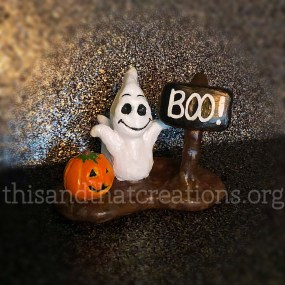 Boo! Ghost and Pumpkin Figurine $10