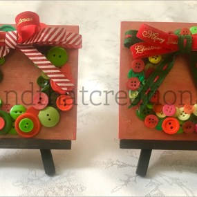 Mini Button Wreaths (with easels) $15 each