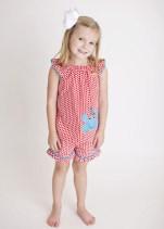 Applique Crab Red Dots Girl's Short Set