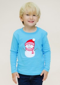 Boys Turquoise Long Sleeve Knit Holiday Shirt