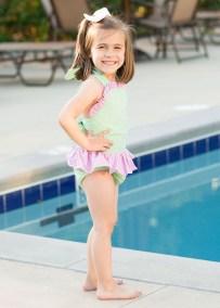 Girl's Green and Pink Seersucker Swimsuit