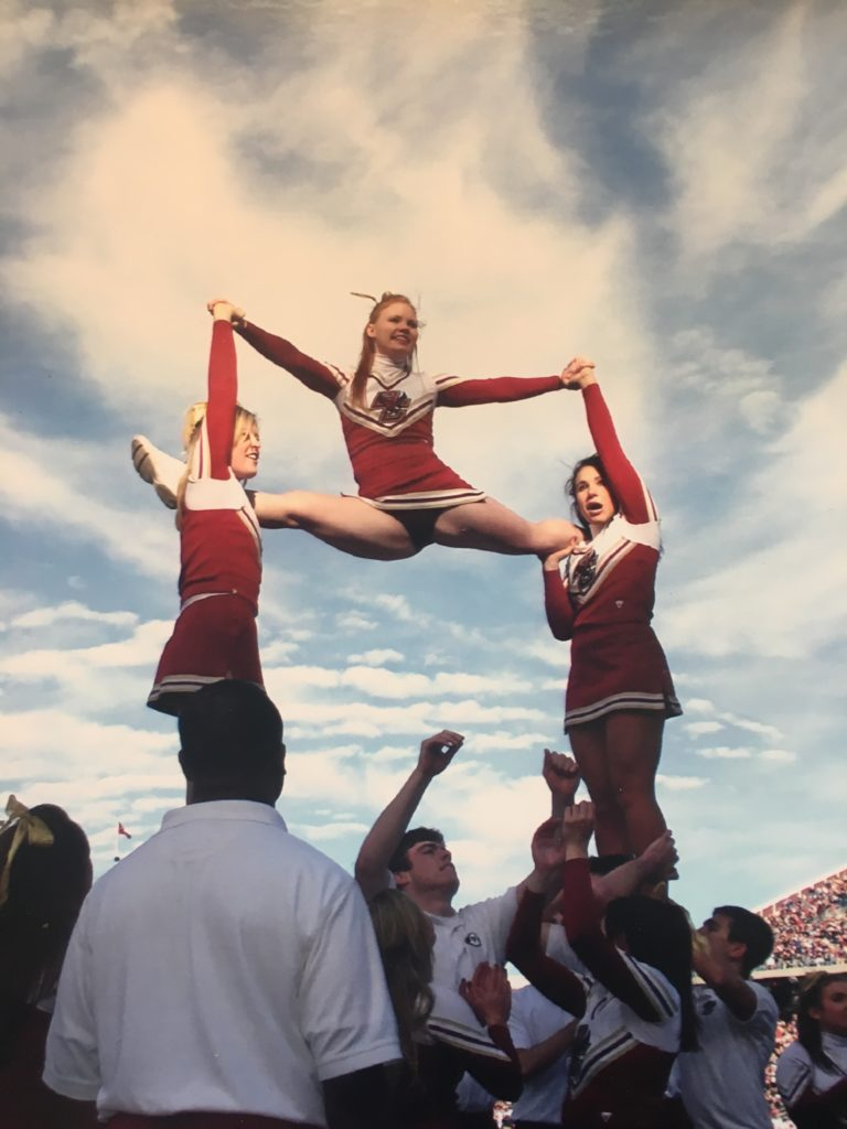 boston college cheerleading split pyramid