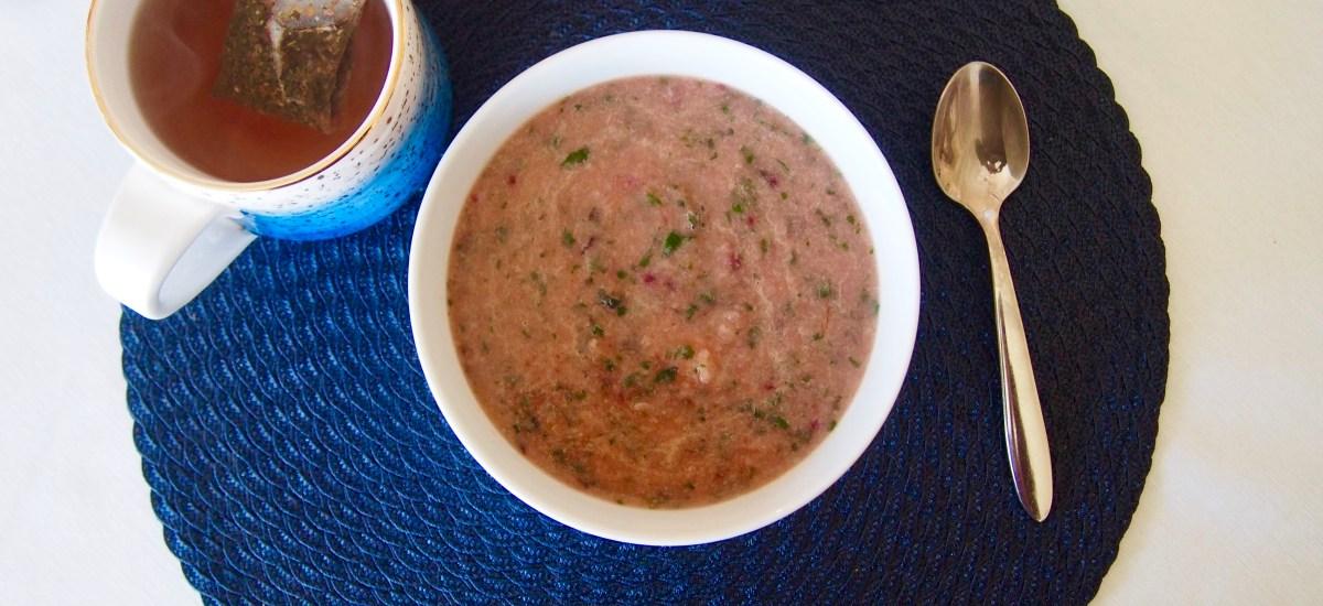 Cauliflower Leek Beet Green Pink Soup
