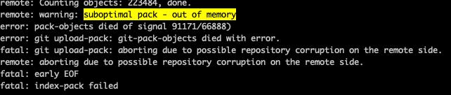 "Screenshot of ""suboptimal pack - out of memory"" warning"