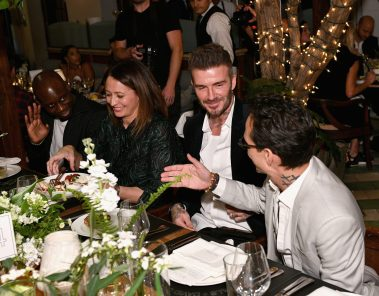 MIAMI, FL - DECEMBER 06: (L-R) Luceny Fofana, Caroline Rush, David Beckham and Marc Anthony attend Adidas Originals, British Fashion Council and David Beckham host a dinner in celebration of their creative collaboration on December 6, 2018 in Miami, United States. (Photo by Getty Images/BFC/Getty Images for BFC) *** Local Caption *** Luceny Fofana;Caroline Rush;David Beckham;Marc Anthony