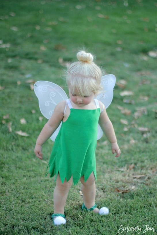 DIY-Toddler-Tinkerbell-Costume-| This Blended Home of Mine - Halloween Costumes for the Whole Family
