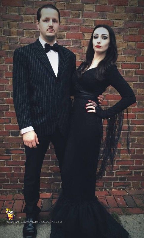 Morticia-and-Gomez-Addams-Family-Couple-Homemade-Costume-Idea - This Blended Home of Mine - Halloween Costumes for the Whole Family
