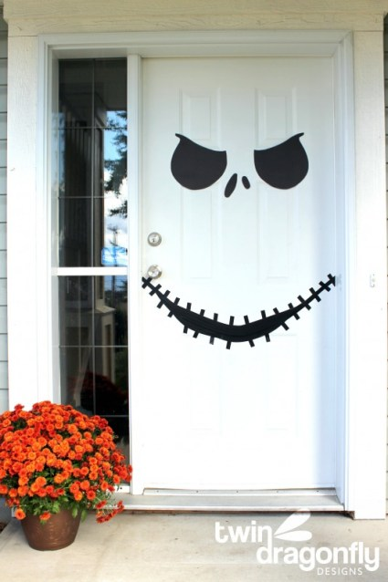 Jack-Skellington-Door-This Blended Home of Mine - Cheap Halloween Decorations