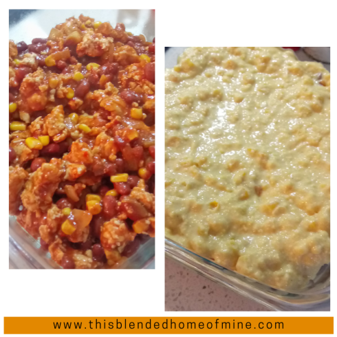 Chicken Cornbread Chili Pie - This Blended Home of Mine - Easy oven-baked ground chicken chili topped with Jiffy Cornbread recipe