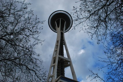 Space Needle Seattle from the ground looking up