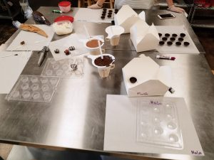 metal tables for easy cleanup at Just Add Chocolate