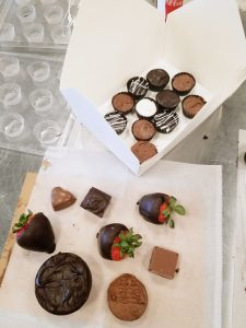 Taking home delicious goodies from Just Add Chocolate