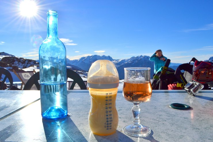 Baby Ski Holiday Packing list - milk bottles and wine, mountain views