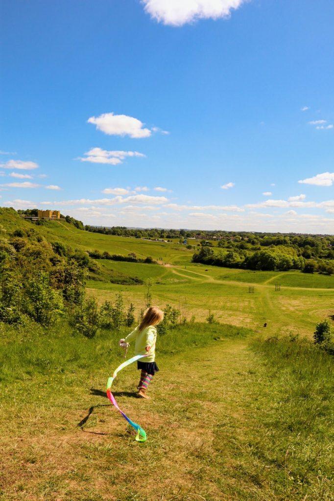 Kid playing in Stoke Park Estate Bristol