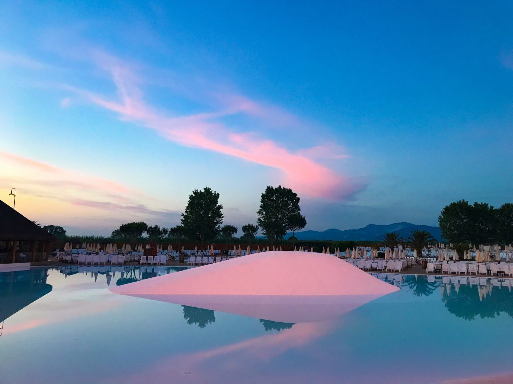 park albatros campsite swimming pool sunset