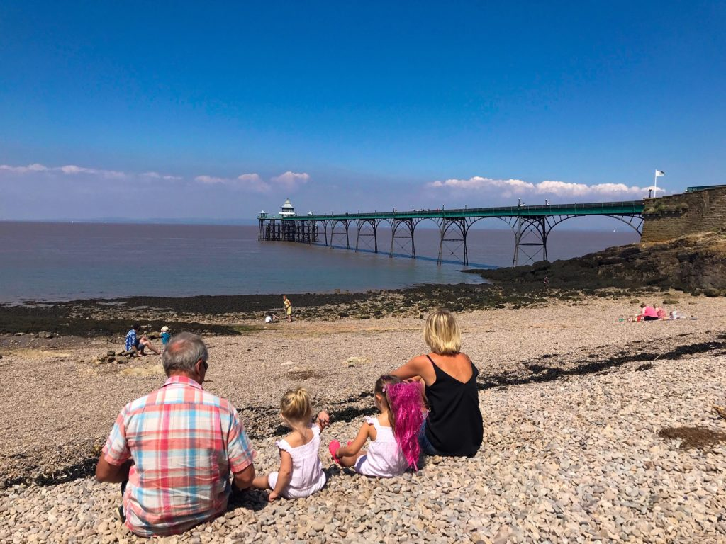 Clevedon beach and pier with kids