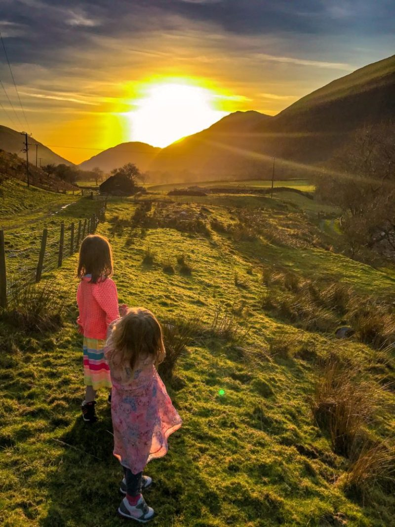 Snowdonia sunset with kids