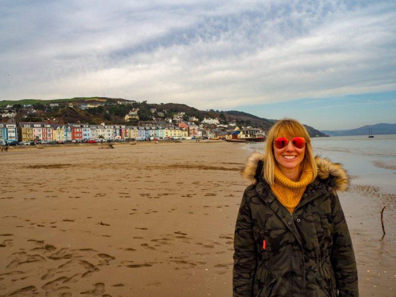 Angharad Paull on Aberdyfi beach, Snowdonia, Wales