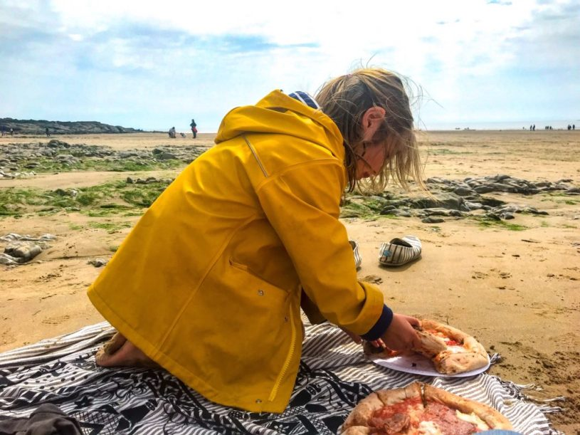Ogmore by Sea, Wales - beach pizza