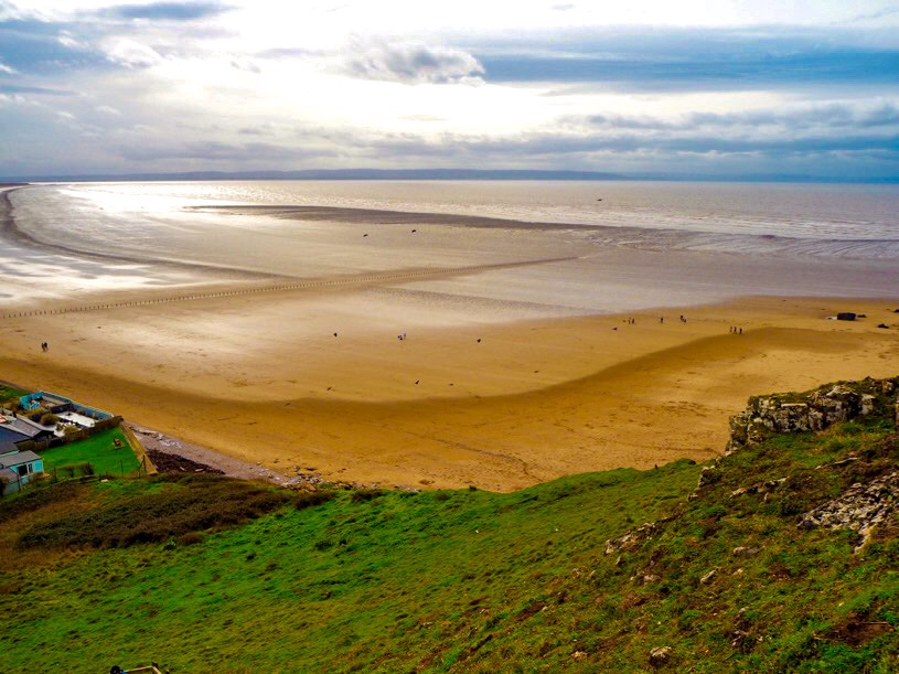 Brean Down Beach from above