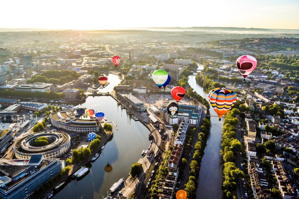 Bristol balloon fiesta from the air