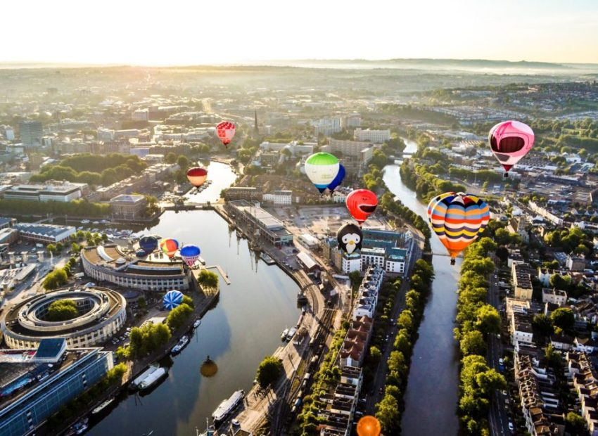 Bristol balloon fiesta from the air
