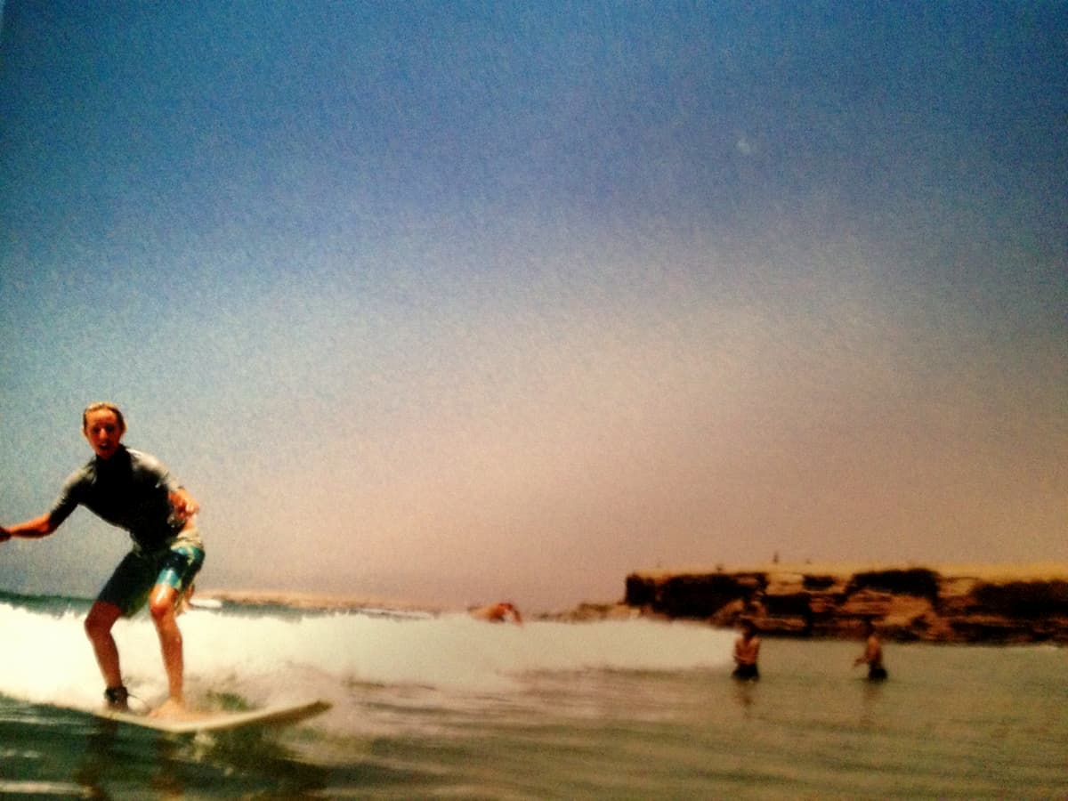 me surfing!