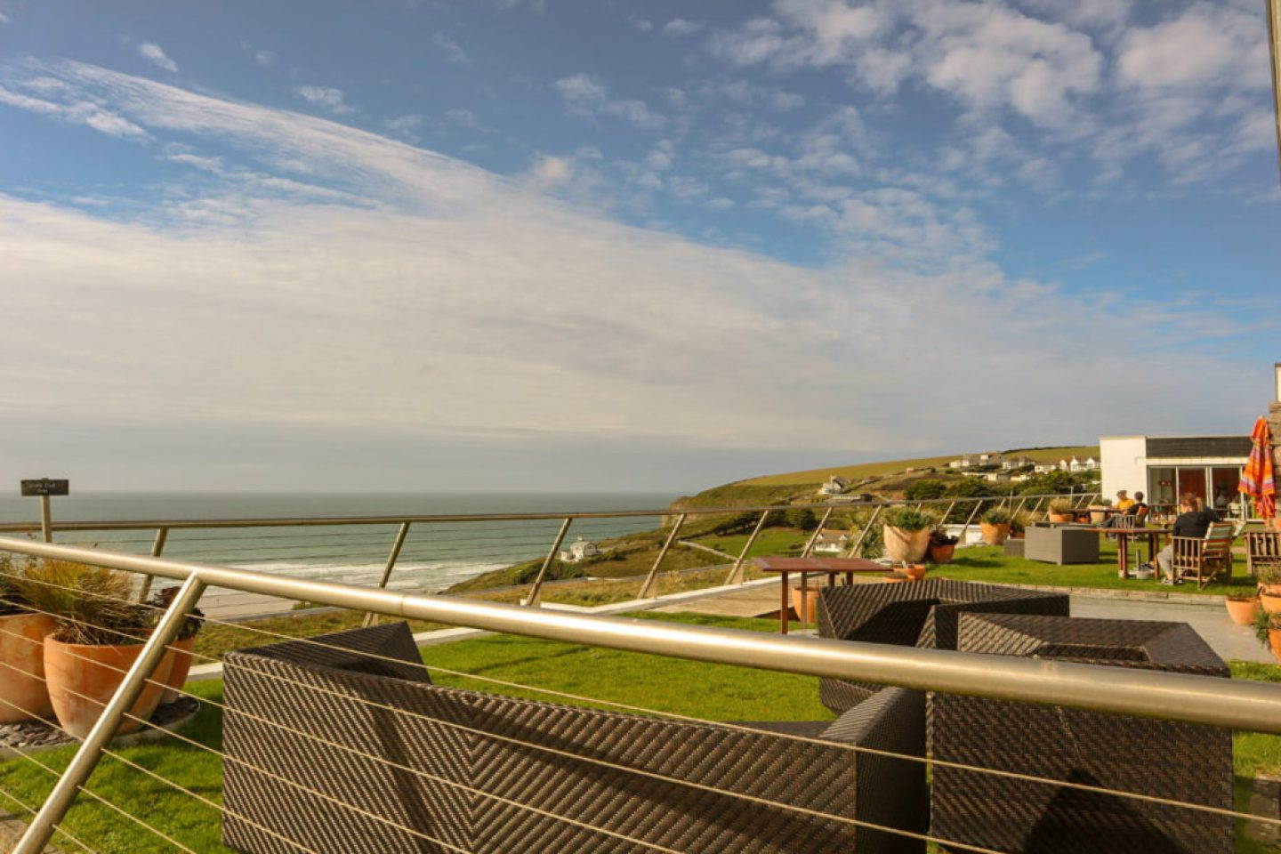 Bedruthan hotel and spa drinks terrace