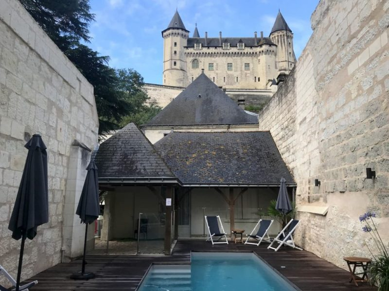 Hotel Anne d'Anjou swimming pool and Chateau de Saumur