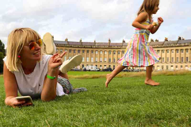 Royal Crescent Bath, kid running, lying down