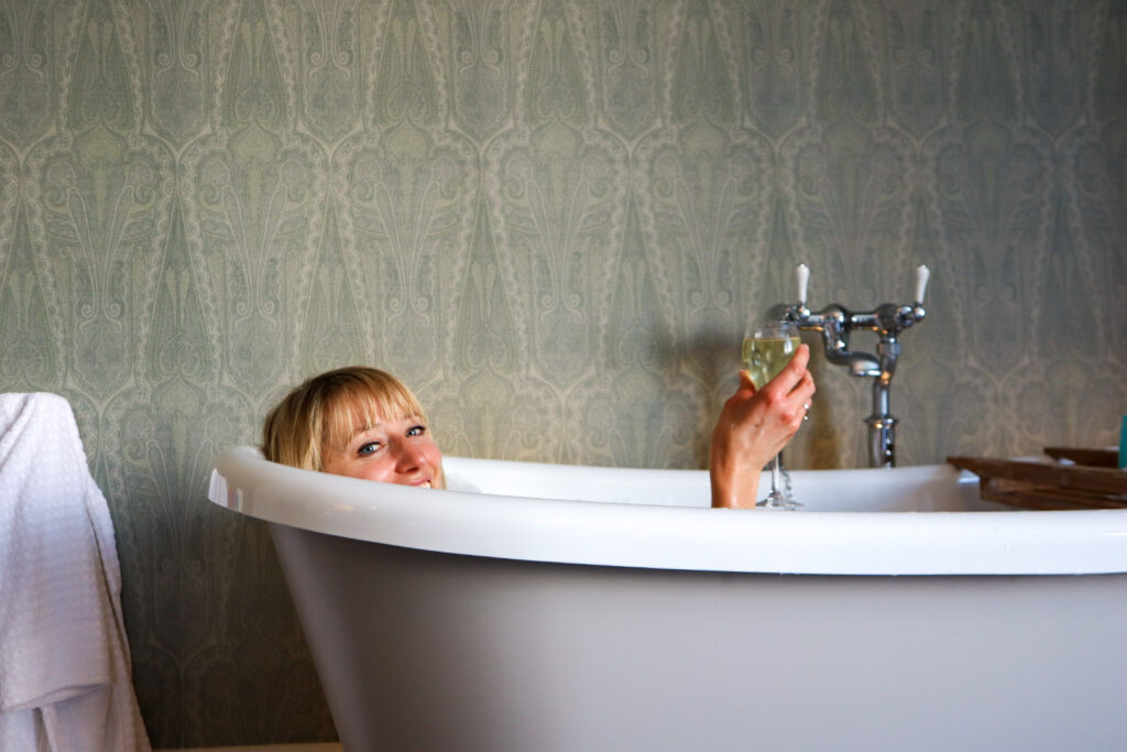 Me in the bath at Carbis Bay hotel and spa, Cornwall