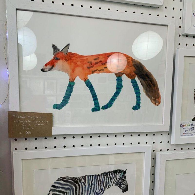 Rosie Webb Fox in Socks - independent artist, illustrator, Bristol