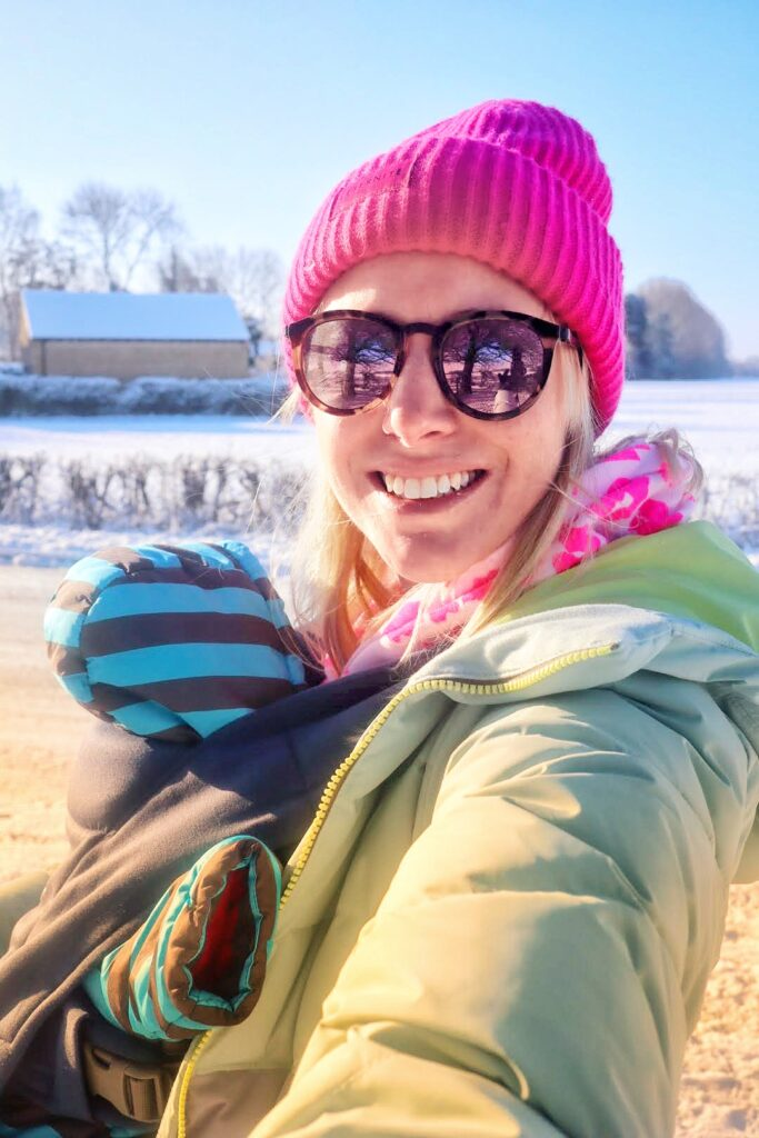 Ergobaby embrace baby carrier in the snow