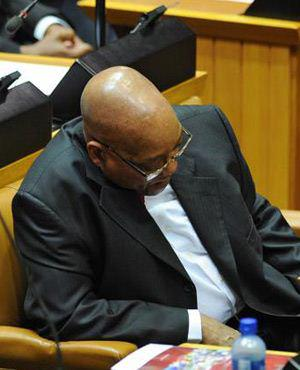 The State President fast asleep during the budget speech in February 2013