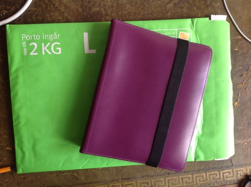 A5 leather Ordning och Reda binder going to Sherry for The Gardening Project. This binder has Swedish ring spacing so have included lots of paper in it. A single-hole punch will probably be necessary for this one.