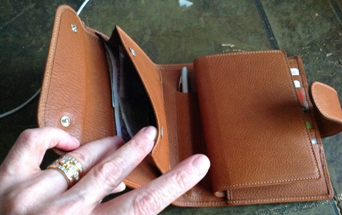Notes and coins in the poppered pocket