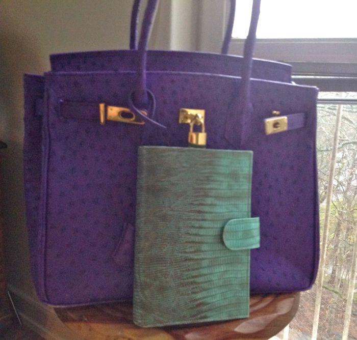 Purple Vanilla Paris bag with Medium Aqua Scorpion